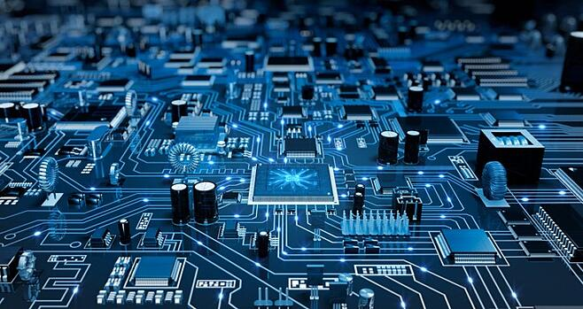 Close up picture of a circuit board