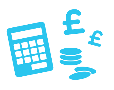 Illustration of a calculator, pound sign and coins