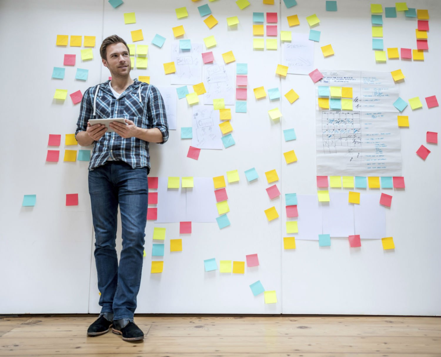 Entrepreneur leaning on a wall covered in post-it notes
